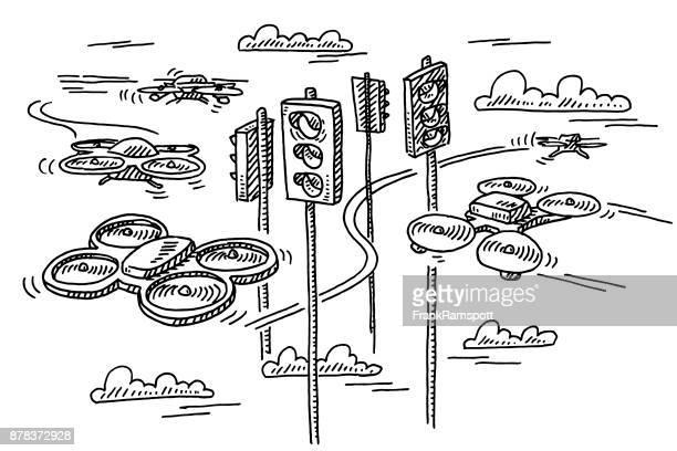 Futuristic Drone Traffic Drawing