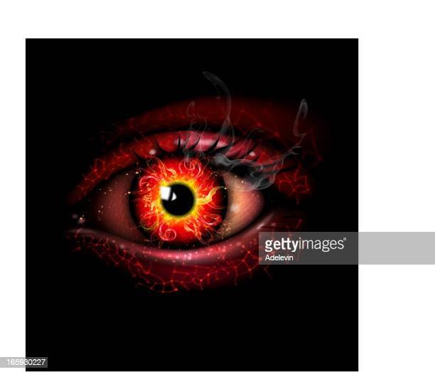 futuristic fire eye - magic eye stock illustrations