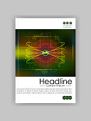 Futuristic future sci fi atom with internet technology and business interface background with numbers. Infographic data. HUD. Cover template for journals, conference, banner, book.   illustration