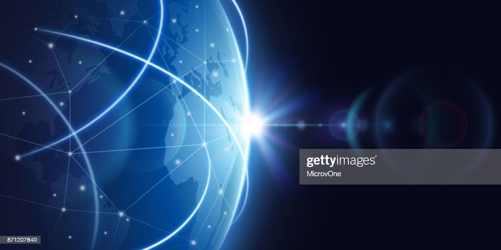 Futuristic global internet network background. Worldwide globalization vector concept
