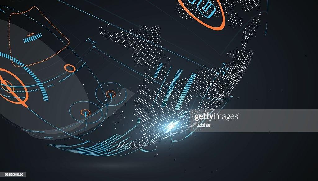 Futuristic globalization interface.