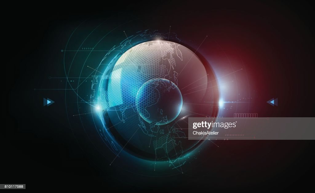 Futuristic globalization sphere in hologram concept, world map, vector illustration