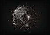 Futuristic globe hologram globalization concept, world map hexagon, vector illustration