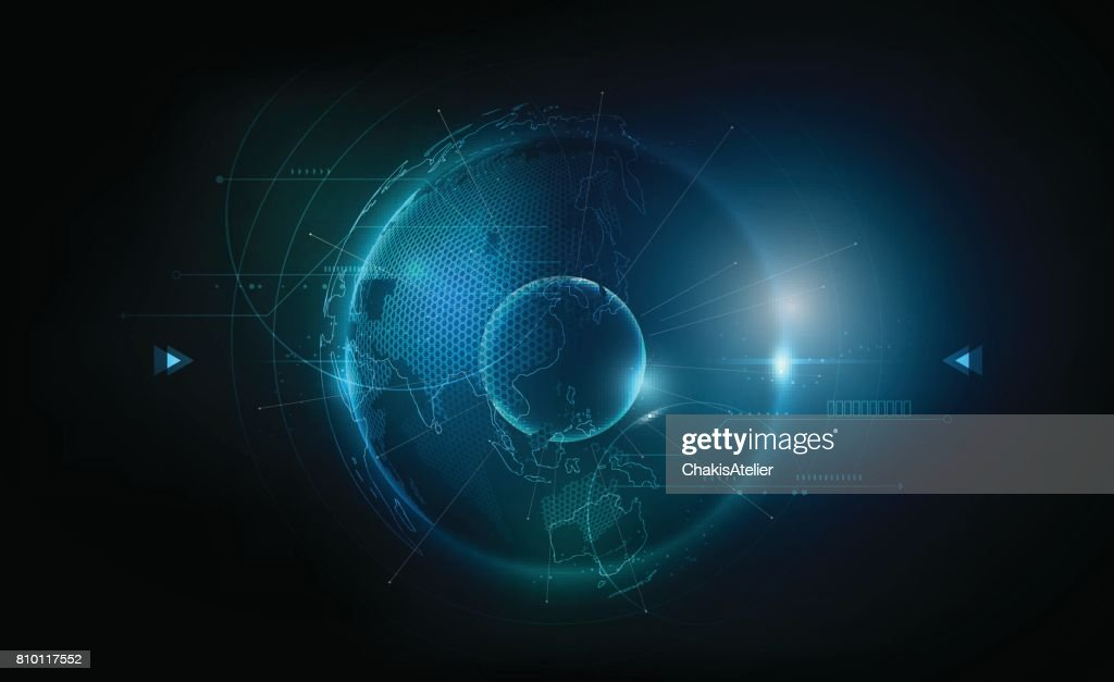 Futuristic globe in hologram globalization concept, world map, vector illustration