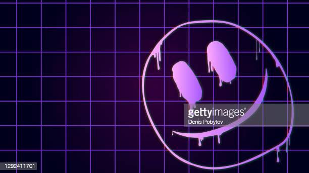 stockillustraties, clipart, cartoons en iconen met futuristische gloeiende grafische illustratie - neon graffiti emoticon op een rasterachtergrond. - wetenschap en techniek