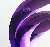 Futuristic hi-tech glass wave abstract background. Color curvy line with glossy effect