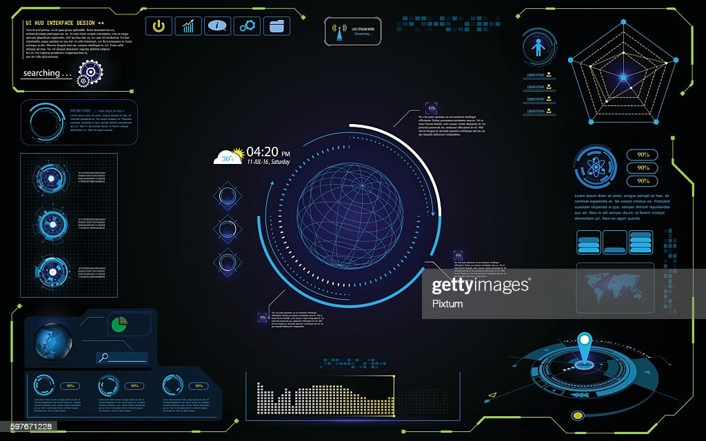 UI futuristic hud interface interactive visualization sci fi concept design