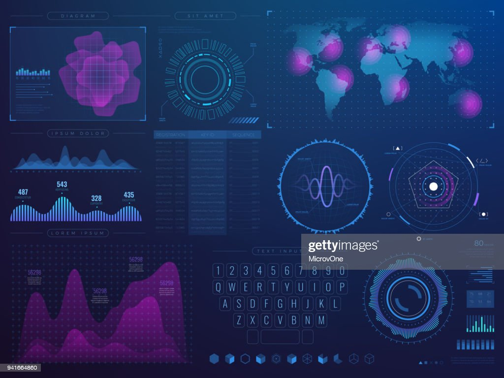 Futuristic hud interface. Science future tech vector ui with infographic elements