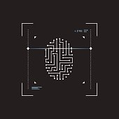 Futuristic interface scanner fingerprint.