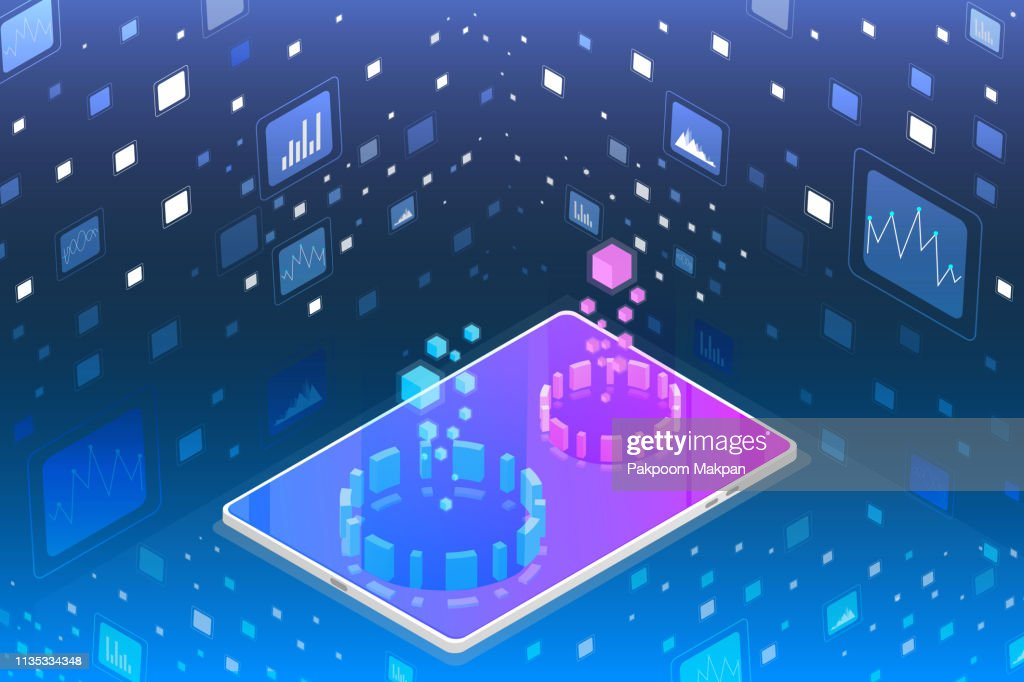Futuristic Isometric Element Cyber Security Data Storage Vector Background.