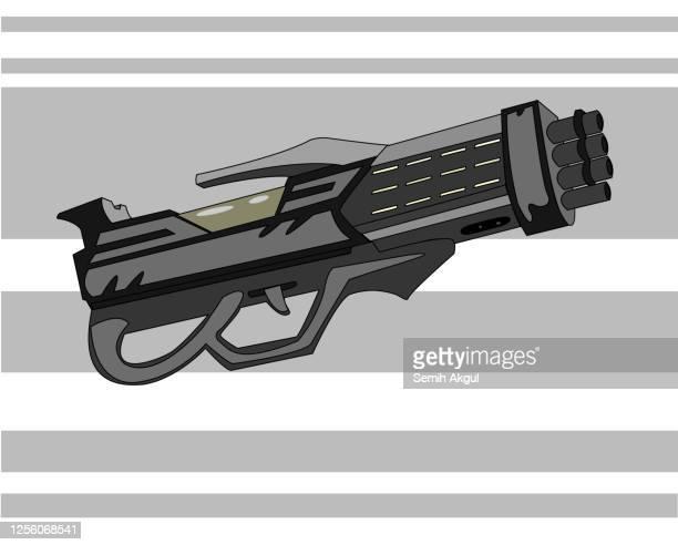 ilustrações de stock, clip art, desenhos animados e ícones de futuristic laser gun vector illustration - metralhadora