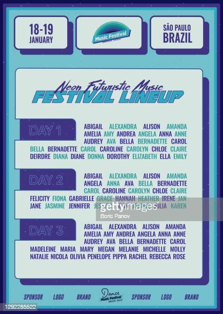 illustrations, cliparts, dessins animés et icônes de futuristic music festival lineup dj poster ou flyer leaflet template in bright blue synthwave cyberpunk style - festival de film