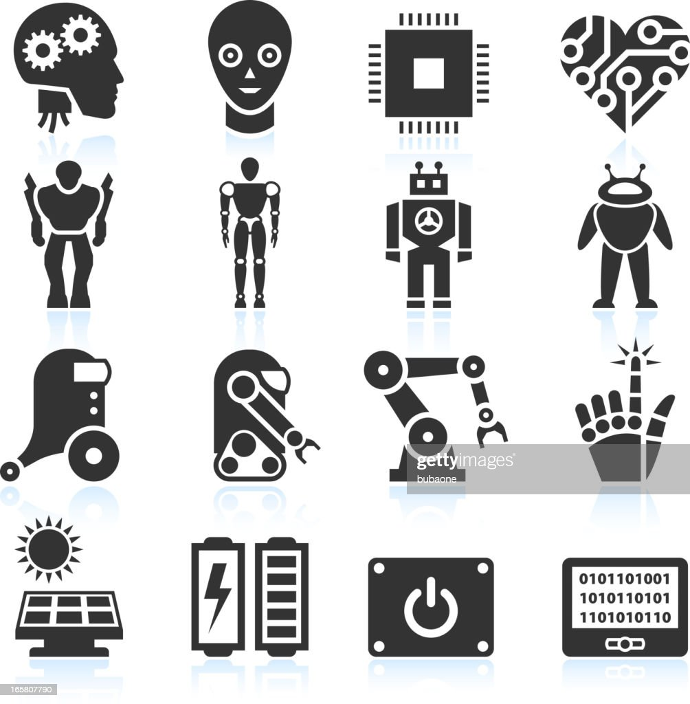 Futuristic Robotics and Artificial Intelligence black & white icon set