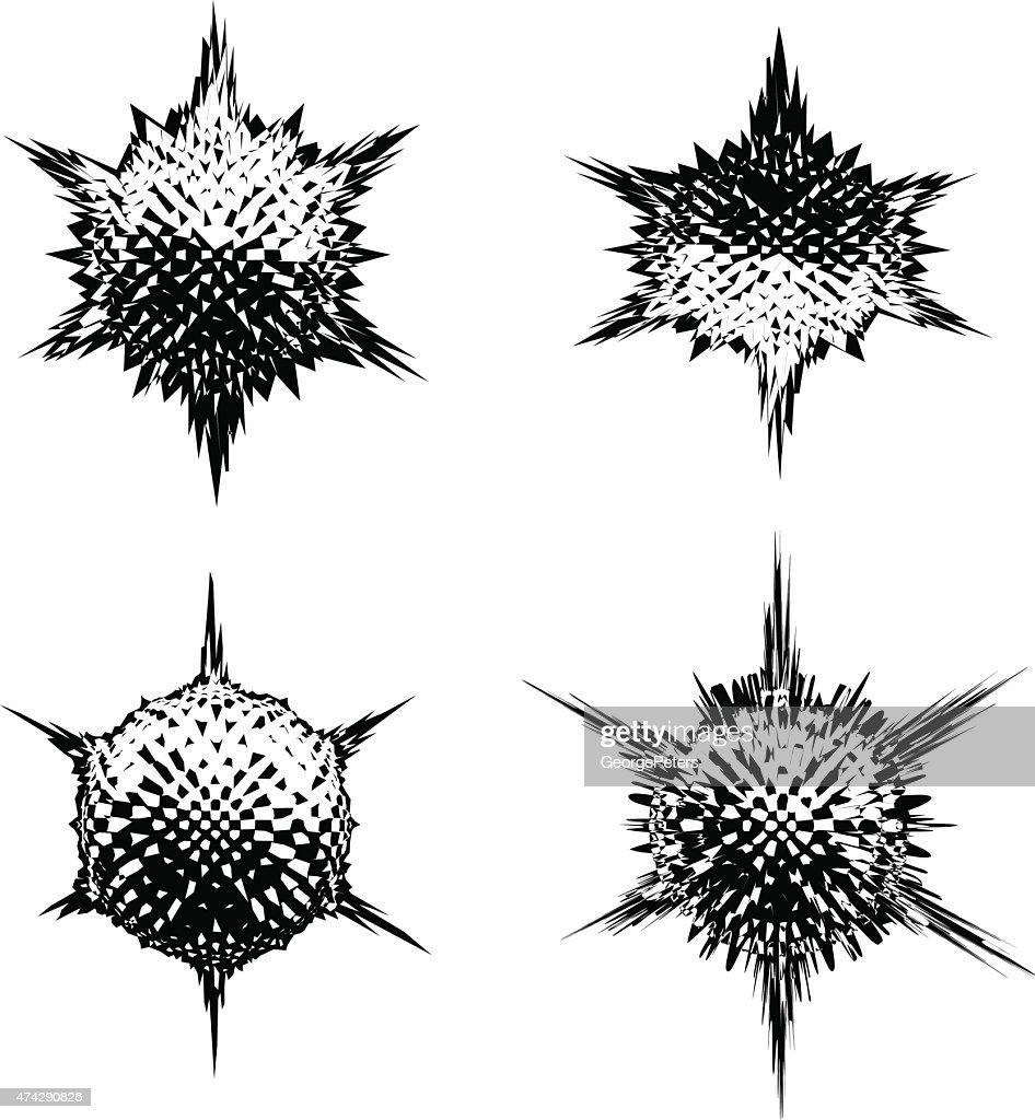 Futuristic Shapes Line Art Set