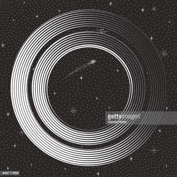 futuristic space and space station with stars and comet - black hole stock illustrations