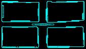 HUD Futuristic Technology Interface Screen Elements Panel Set Vector.