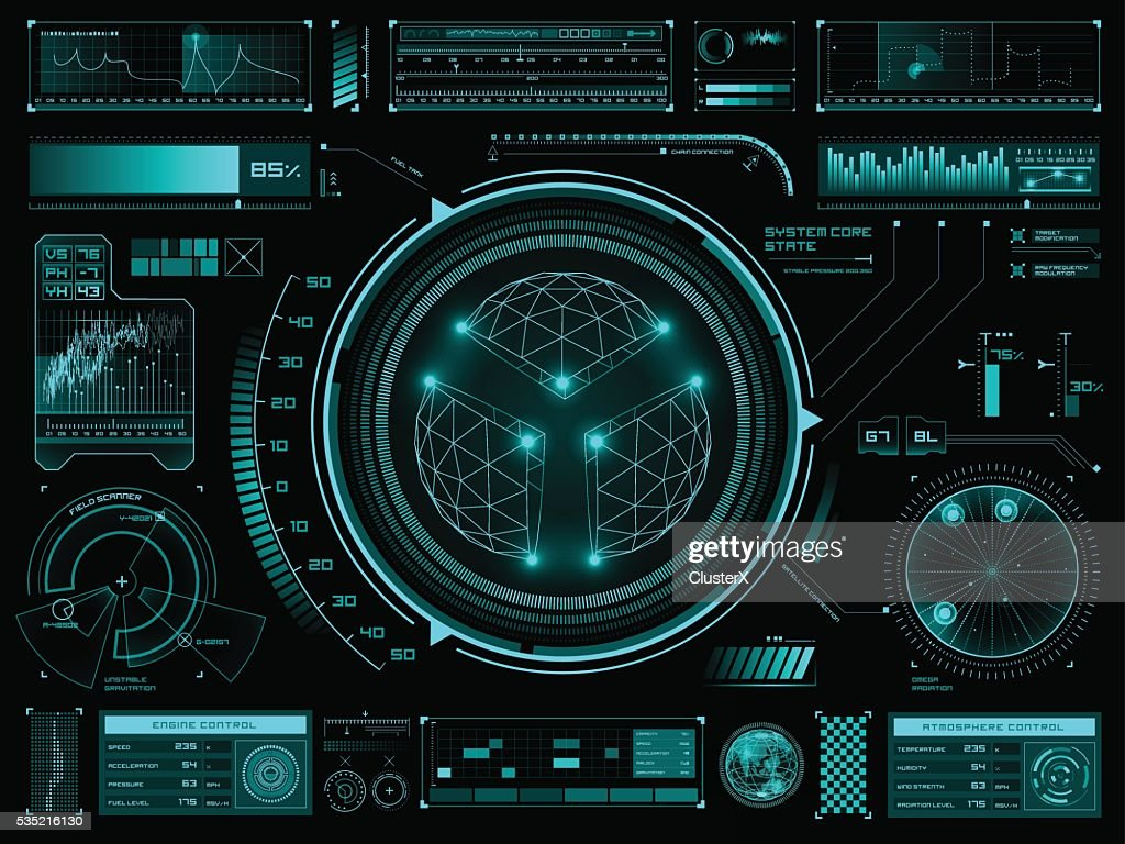 Futuristic touch screen user interface HUD