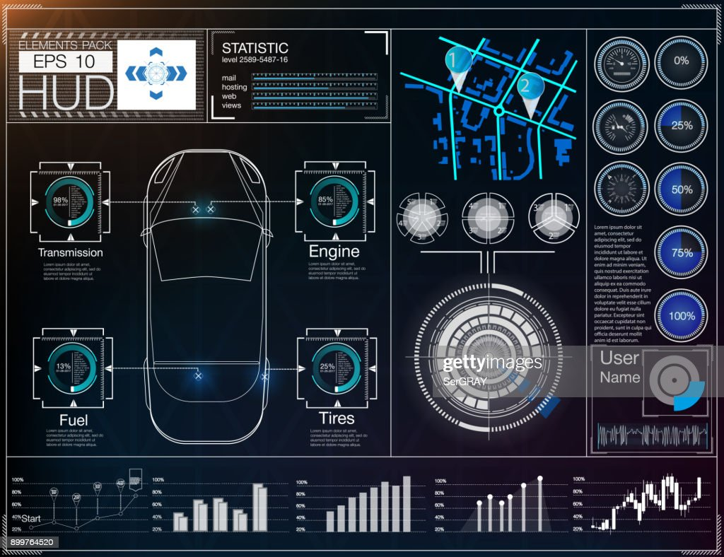 Futuristic user interface. HUD UI. Abstract virtual graphic touch user interface. Cars infographic.