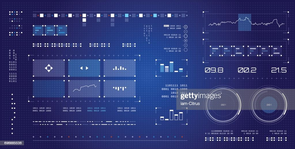 Futuristic user interface. Spaceship screen elements set. Infographic display.