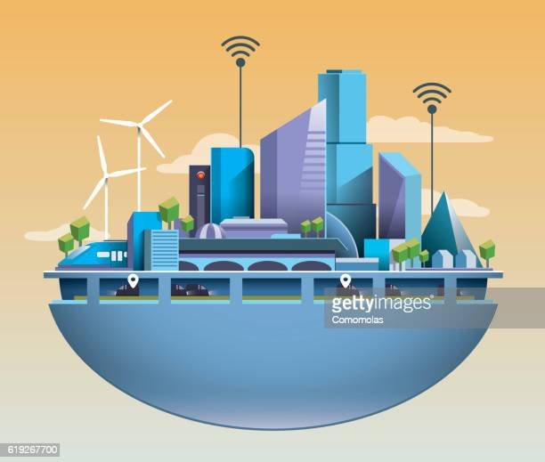ilustraciones, imágenes clip art, dibujos animados e iconos de stock de futuristic vector smart city with clean and warm enviroment - movilidad urbana