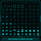 HUD Fututistic Collection Icons Element Vector Set.