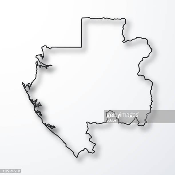 Carte du Gabon - noir contour avec ombre sur fond blanc