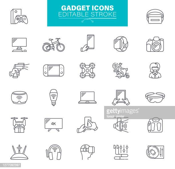 gadget icons editable stroke - ultra high definition television stock illustrations