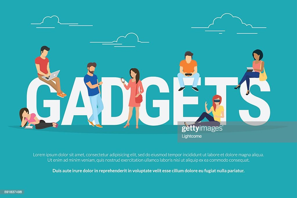Gadgets concept illustration of young people using devices such as