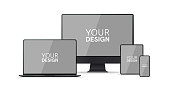 Gadgets, devices set. Phone, laptop, pc monitor, computer, tablet. Flat style border. Realistic concept with empty screen. Simple modern colorful design. Black and white colors. Vector illustration.
