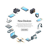 Gadset set label with text. Vector isometric gadgets icons