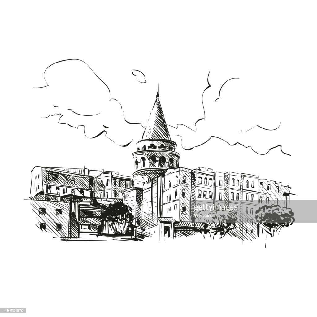 Galata Tower hand drawn, vector illustration