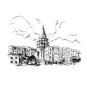 Free Galata,Tower,Istanbul,Turkey,History,Historical Stock