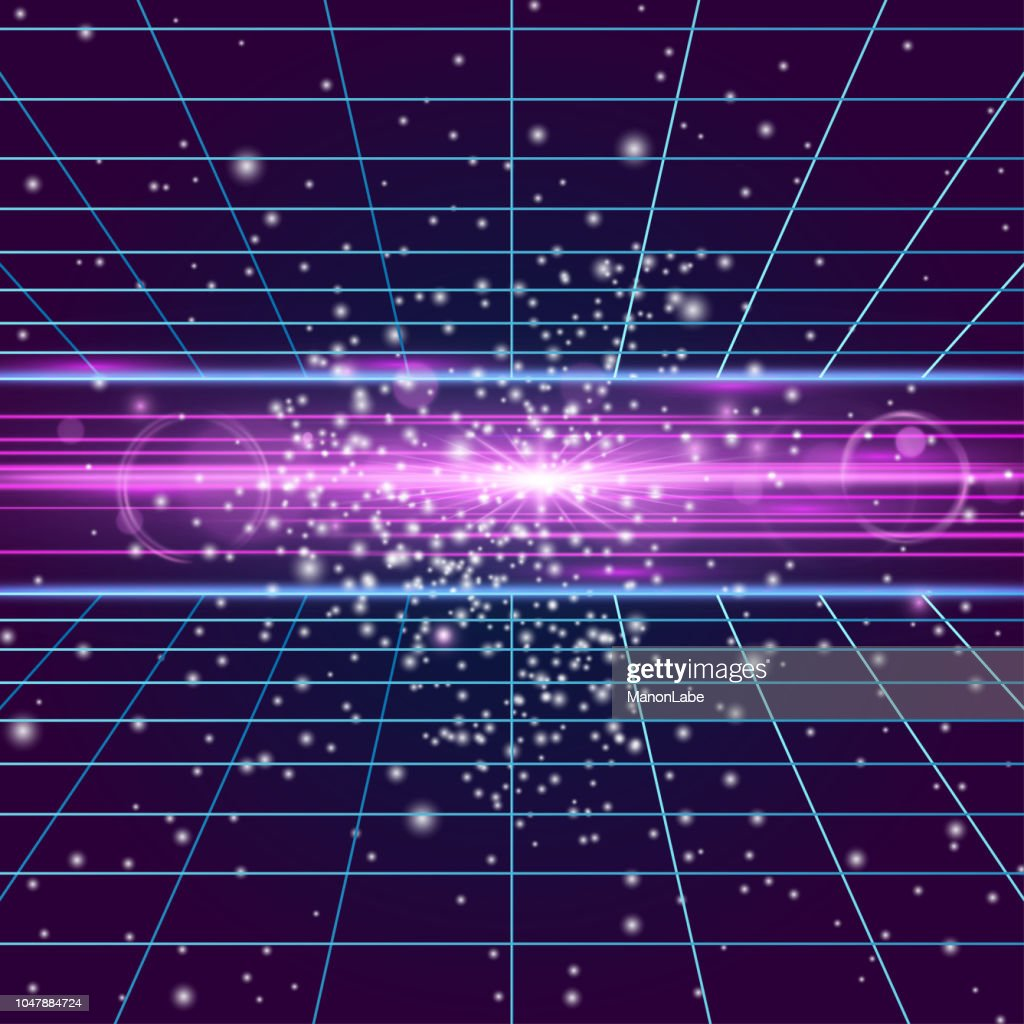 Galaxy backdrop, disco floor, vintage dance background with neon illumination, futuristic style light effect perspective. Party poster with strobing laser grid and explosion. Three dimensional banner.