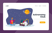 Galaxy Research and Colonization Landing Page Template. Engineer Character Control Rover Move on Alien Planet Surface
