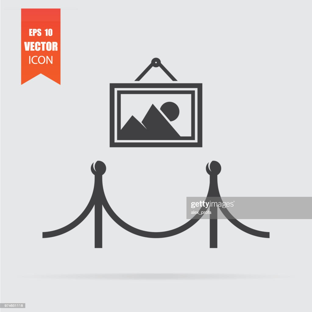 Gallery icon in flat style isolated on grey background.