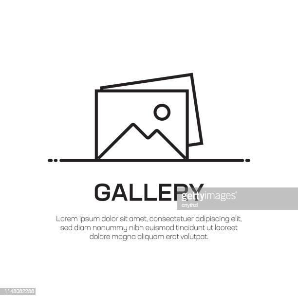 gallery vector line icon - simple thin line icon, premium quality design element - photograph stock illustrations