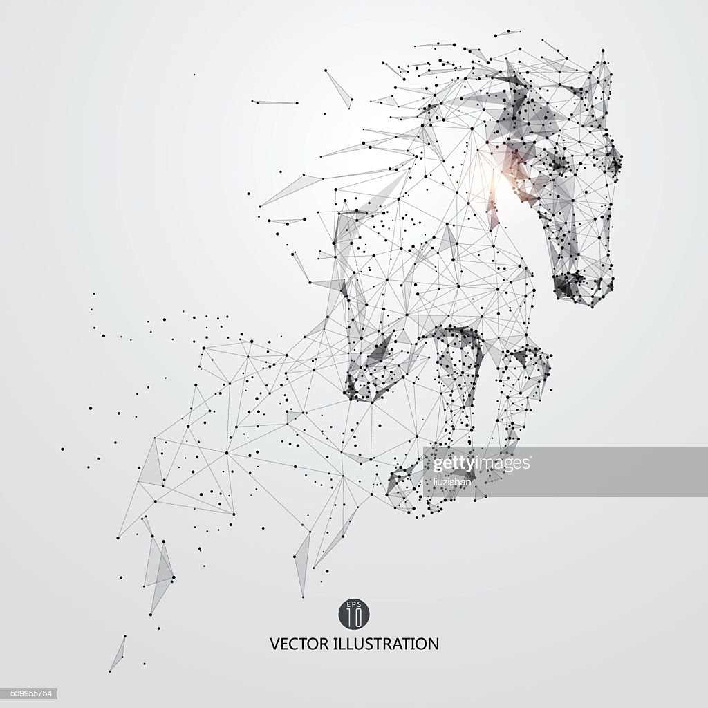 Galloping horse,lines and connected to form.