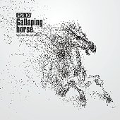 Galloping horse,Many particles,sketch,vector illustration,