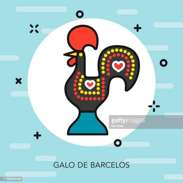 ilustrações de stock, clip art, desenhos animados e ícones de galo de barcelos portugal thin line icon - galo de barcelos