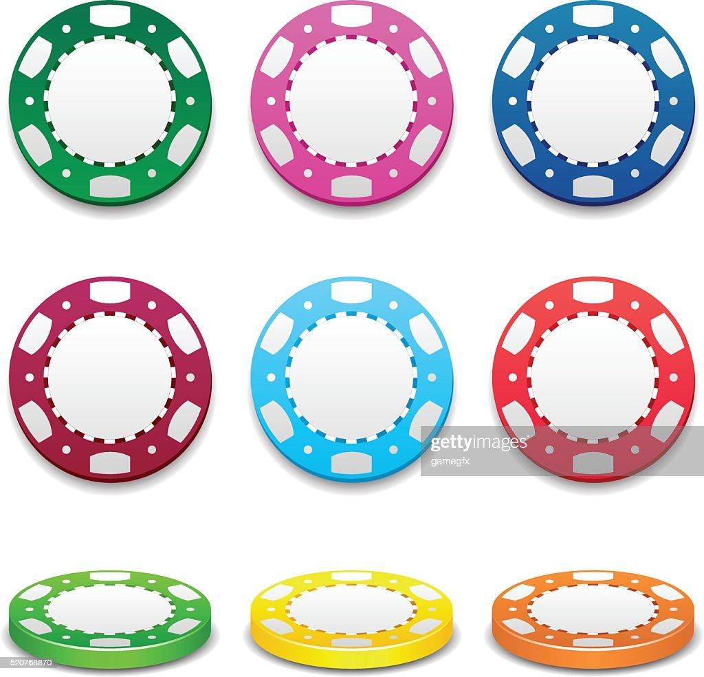 Gambling casino poker stack chips color sign