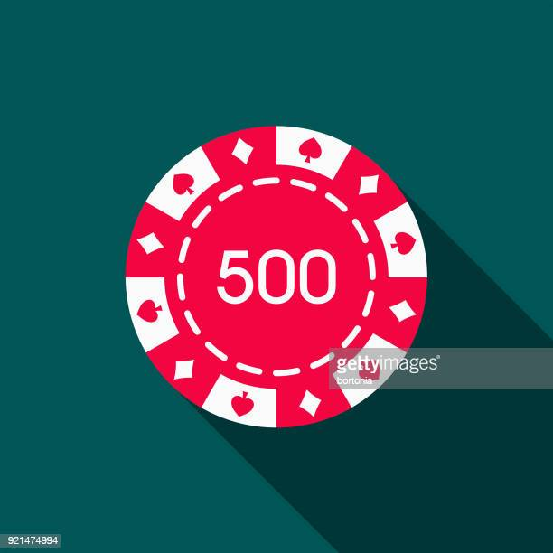Gambling Chip Flat Design Casino Icon with Side Shadow