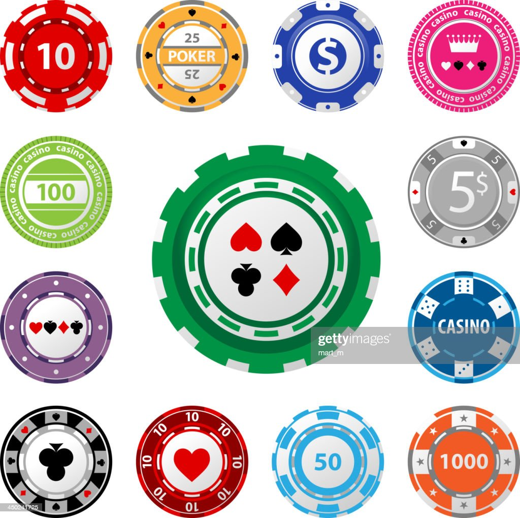 Gambling chips in varying amounts on a white background