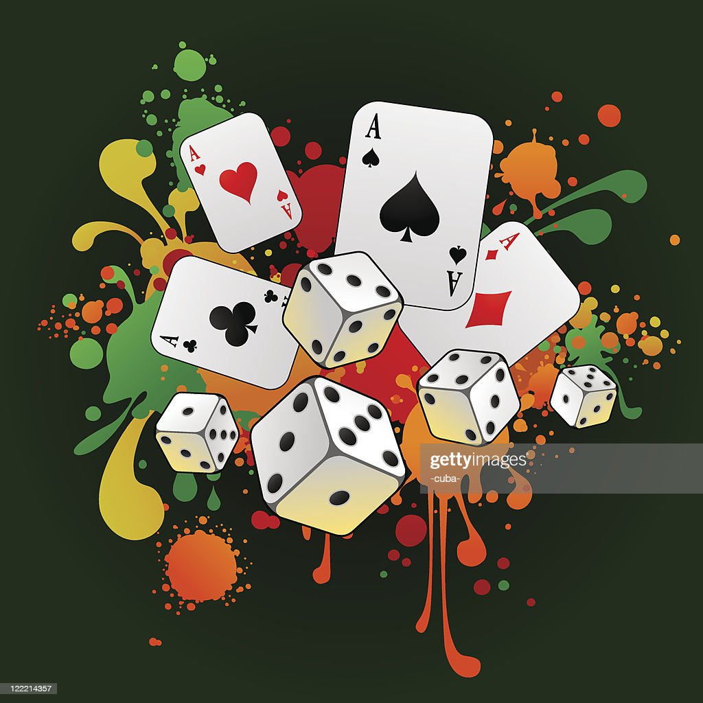 Gambling composition with cards and 3d dices : stock illustration