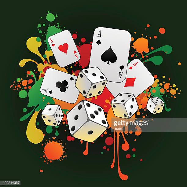 gambling composition with cards and 3d dices - ace stock illustrations, clip art, cartoons, & icons