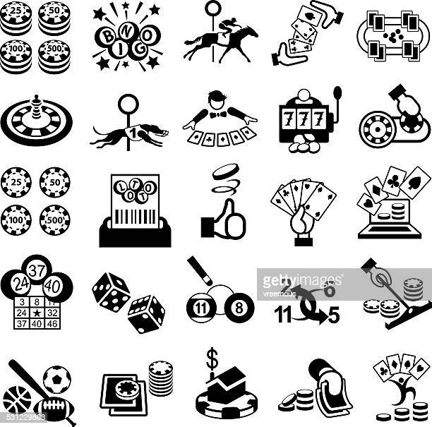 gambling icon set - bingo stock illustrations