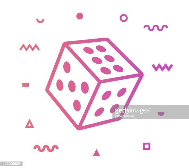 gambling line style icon design - dice stock illustrations