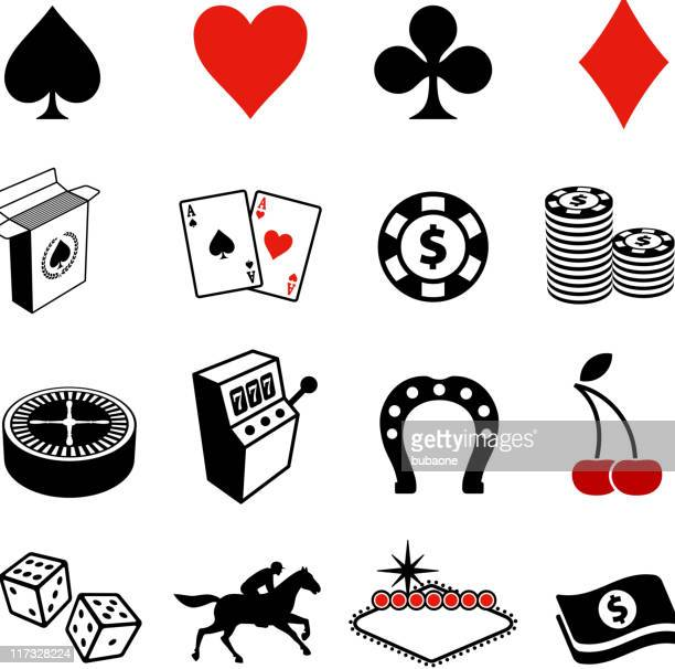 Gambling , Poker and Las Vegas black & white icon set