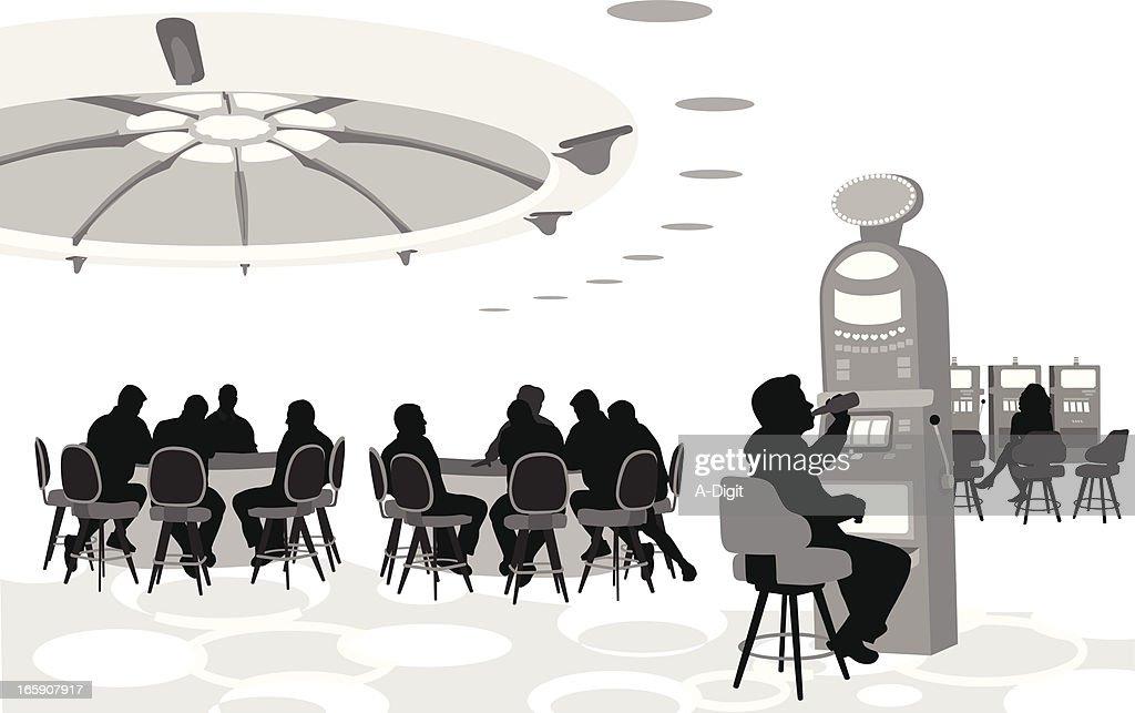 Gambling Scene Vector Silhouette : stock illustration