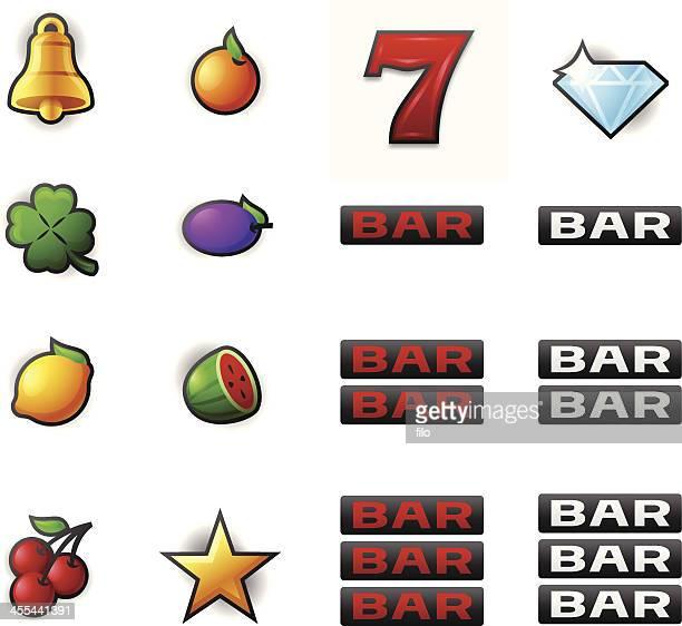gambling slot machine symbols - jackpot stock illustrations, clip art, cartoons, & icons