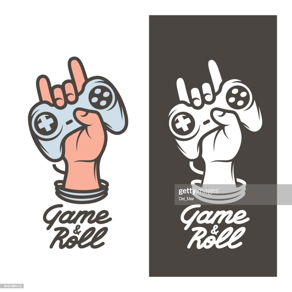 Game and roll t-shirt design. Hand with joystick. Vector vintage illustration.